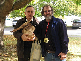 Dr. Ivan Jakopovich with mushroom grower Paul Stamets