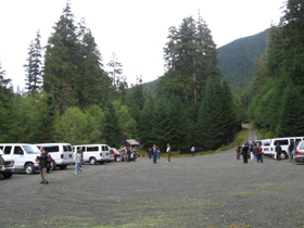 Before the start of mushroom hunt at Olympia, Washington, USA